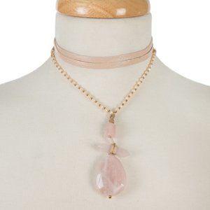 Boutique | Pink stone pendant wrap necklace